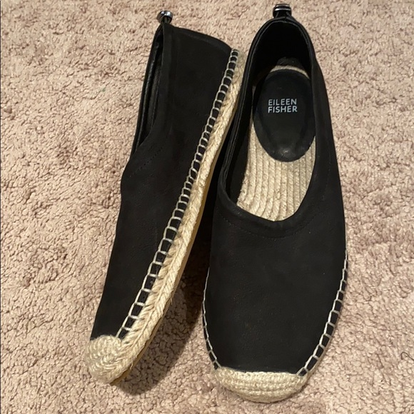 Eileen fisher size 10 black tan flats Shoes